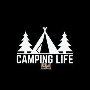 CAMPING LIFE Vinyl Sticker Love HIKING Trail Outdoor Camp Journey Backpack