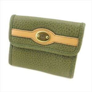 Dior Coin Purse Green Beige Gold leather Woman unisex Authentic Used T9388