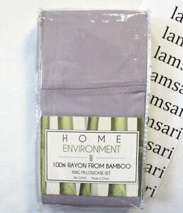 Home Environment 100% Rayon From Bamboo 2 Pack King Pillowcase Set Lavender