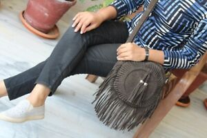 Suede Leather Casual Fringe Handmade Sling Bag for womens