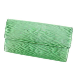 Louis Vuitton Wallet Purse Long Wallet Epi Green Woman Authentic Used C2476