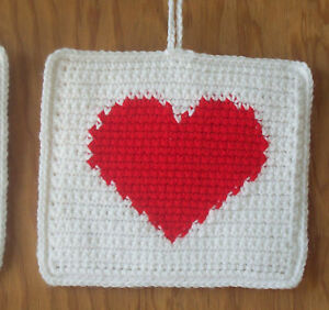 Crocheted Double Thick Valentine Heart Pot Holders / Hot Pads - Set of 2