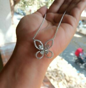 0.50Ct Round Cut Diamond Butterfly Necklace Pendant 14K White Gold Finish