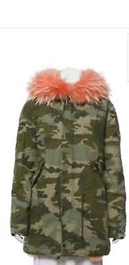 MR & MRS ITALY Midi Camouflage Parka Jacket With Raccoon Hood Size XS