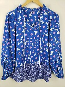 Elle Women's Size L Blue Purple Floral Roll Tab Sleeve Polyester Peasant Top