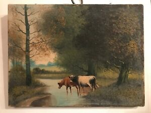 FAB! Antique 19th.Original Purant Dutch Oil on Canvas Cows by River Scene Signed