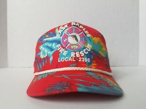 Vintage East Naples Florida Fire Rescue Local 2396 Tropical Colorful Snapback