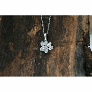 14K White Gold Finish 0.25 Ct Round Cut Diamond Dog Paw Print Necklace Pendant