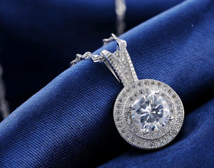 14K White Gold Finish 1.5Ct Round Cut Diamond Necklace Pendant For Women's