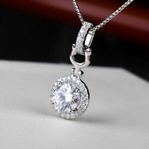 14K White Gold Finish 1.40Ct Round Cut Diamond Necklace Pendant For Women's
