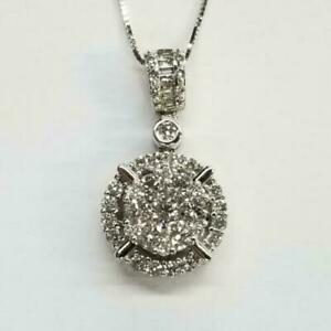 14K White Gold Finish 2Ct Round Cut Diamond Necklace Pendant For Women's