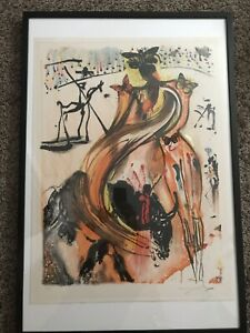 SALVADOR DALI HAND SIGNED COLOR LITHOGRAPH BUTTERFLY BULLFIGHTER LIMITED #76 250 $3750.00