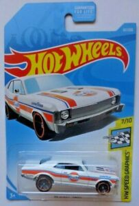 2019 Hot Wheels HW SPEED GRAPHICS 7/10 '68 Chevy Nova 67/250 (White Version)