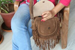 Woman Suede Leather Casual Fringe Handemade Bag
