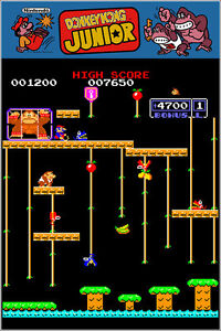 Donkey Kong Jr Authentic Arcade Marquee 24x36 Nintendo Video Game Giclee Poster $24.99