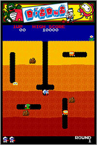 Dig Dug Authentic Arcade Marquee 24x36 Namco Video Game Giclee Artwork Poster $24.99