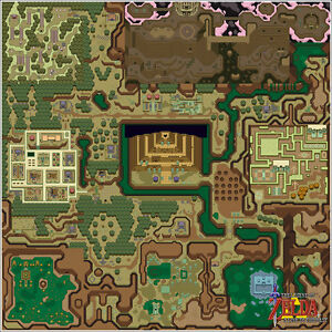 Nintendo Zelda Link to the Past Dark World Map 24x24 Video Game Giclee Poster