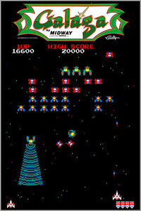Galaga Authentic Arcade Marquee 24x36 Bally Midway Video Game Giclee Art Poster