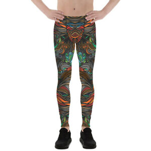 Spirals Swirls Mens Leggings Printed Colorful Abstract Pattern Meggings for Men