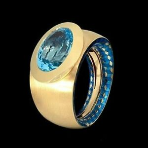 MOUSSON ATELIER KALEIDOSCOPE RING 18K W/ GOLD Sky Topaz 6,88 CT Enamel BRAND NEW