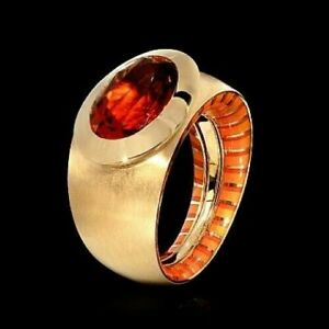 GOLD RING 18K Y KALEIDOSCOPE  Citrine 5,5 ct., Enamel BRAND NEW MOUSSON ATELIER