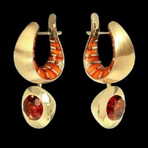 MOUSSON ATELIER KALEIDOSCOPE 18K  YELLOW GOLD EARRINGS Citrine, Enamel Brand New