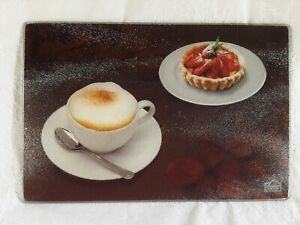 GOURMET TRADITIONS Glass Cutting Chopping Board Serving Tray Cuppachino Tart