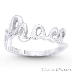 quot;Peacequot; Word Cursive Script Solid .925 Sterling Silver Right Hand Stackable Ring $26.24