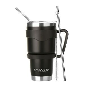 30 oz Stainless Steel Tumbler w/ Lid Handle & Straws Insulated Travel Coffee Mug
