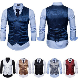 Vintage Men's Formal Business Dress Vest V-neck Double breasted Waistcoat waist