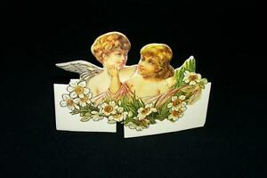 3D Pop up Sliding Greeting Happy Birthday Card Victorian Vintage 1984 Angels