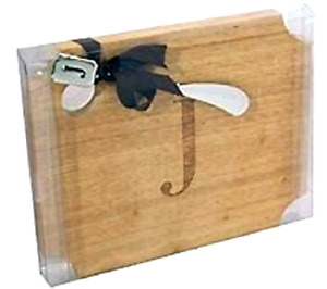 MUD PIE INITIAL WOOD CUTTING BOARD W/ INITIAL SPREADER SET -Choose your Initial