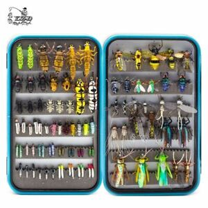 Wet Dry Fly Fishing Set Nymph Streamer Tying Kit Lure Box Tackle 90 Pieces