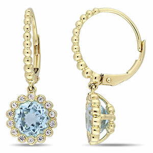 Amour 10k Yellow Gold Sky-Blue Topaz and White Sapphire Halo Leverback Earrings