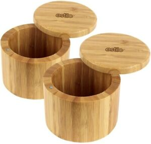 Estilo 100% Natural Bamboo Salt and Spice Box with Lid Set 2