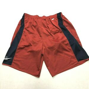 Nike Dri Fit Pre Lives Lined Running Vintage Shorts Size Medium Red Navy Blue
