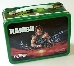 Vintage 1985 Rambo Metal Lunchbox Sylvester Stallone Army Legend ~ No Thermos