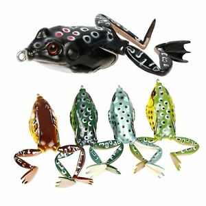 RUNCL Topwater Frog Lures with Legs Soft Fishing Lure Kit with Tackle Box for 5