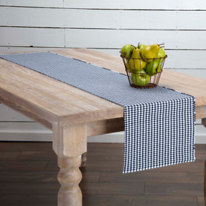 New Cottage Chic Country NAVY BLUE amp; WHITE GINGHAM Checked Table Runner 72quot;