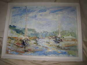 Impasto Seascape Painting Sailboats in Harbor 11x15 Unsigned Impressionist $45.00