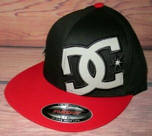 MENS DC SHOES FLEXFIT FITTED HAMMERING BLACK RED HAT SIZE LXL