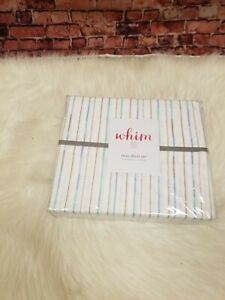 MARTHA STEWART COLLECTION  200TC COTTON PERCALE 3-PC TWIN SHEET SET BFF STRIPE