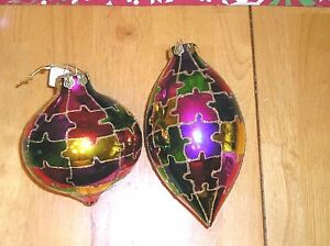 Set of 2 May Department Stores  Puzzle Glass Ball Ornaments 2005