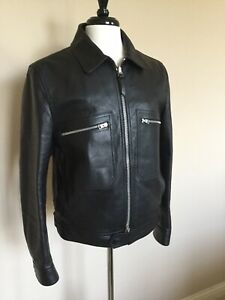 Tom Ford Ranger Icon Leather Jacket Black 54 IT Slim Made in Italy $5490