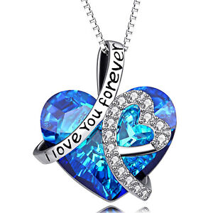 INFINITY LOVE HEART NECKLACE - BIRTHDAY GIFTS FOR WIFE GIRLFRIEND WOMEN MOM