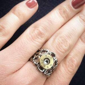Pretty Hunter Ring Bullet Swarovski Metal Adjustable Woman's