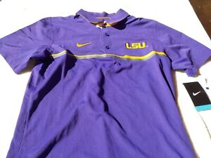 NWT Nike dri fit polo gold purple men's S M pointed collar LSU $80