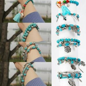 Women Flower Turquoise Tassel Bracelet Set Beaded Bangle Fashion Jewelry Holiday