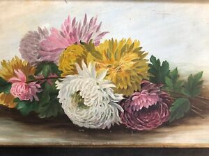 ANTIQUE OIL PAINTING Chrysanthemums Flowers Framed Circa 1900's $145.00