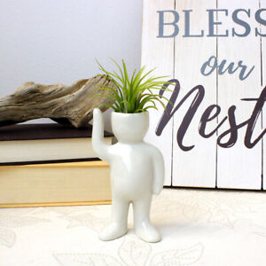 White Ceramic Air Head Greeting Person with Live Air Plant